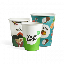 Biodegradable single wall paper cups with print