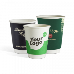 Biodegradable double wall paper cups with logo