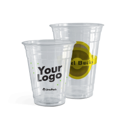 Plastic cups clear with logo –6 colour print